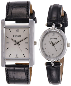 Sonata leather pair watches for dad and mom