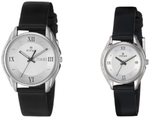 TItan Couple Watches with Black Leather