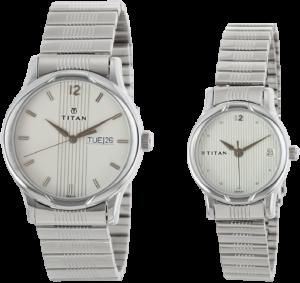 Titan Analog White Couple Watches