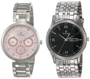 Titan Analog couples wrist watch rose and black dial