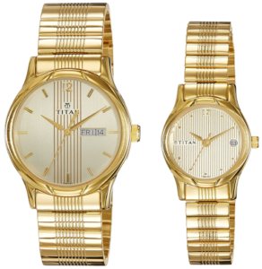 Titan Bandhan Analog Gold Dial Couple Watch - pair 4