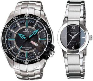 Casio Analog Black Dial Silver Band Men and Women couple Watches