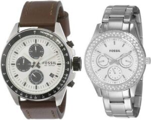 Fossil White Dial Analog couple Watches