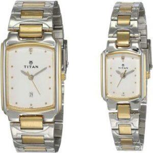 Titan Bandhan Analog White Dial Couples Watch under 10000