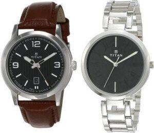 Titan Neo Analog Black Dial Couple watches
