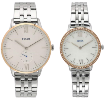 Fossil Analog White Dial Couples Watch