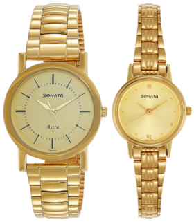 Sonata Analog Champagne Couple watches for parents