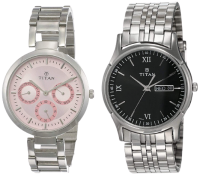 Titan Analog Silver Couple Watches