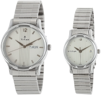 Titan Analog White Couple Watches