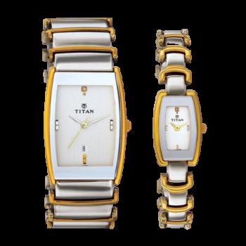 Titan Bandhan Analog Multicolor Dial Couple Watch