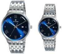 Titan Bandhan Blue & Silver Parents Couple Watches